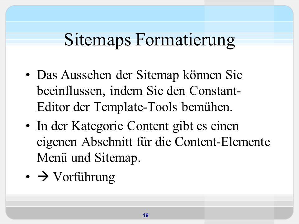 Sitemaps Formatierung