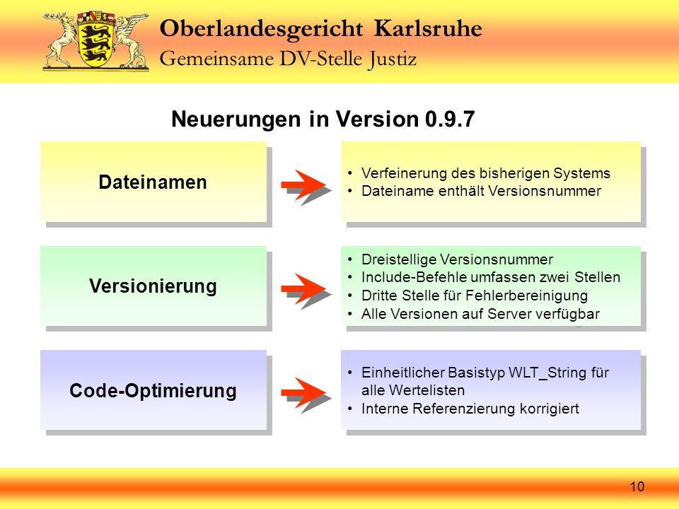 Neuerungen in Version 0.9.7 Dateinamen Versionierung Code-Optimierung