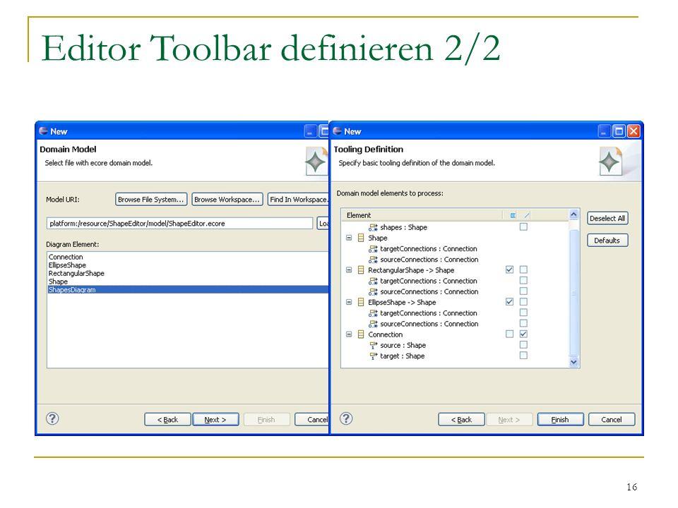 Editor Toolbar definieren 2/2
