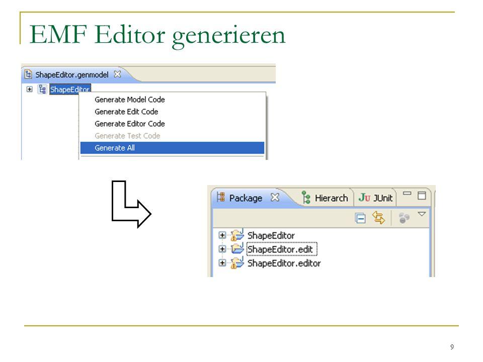 EMF Editor generieren Im Gegensatz zu Laurent Michael generieren wir nicht nur das Modell sondern alles.
