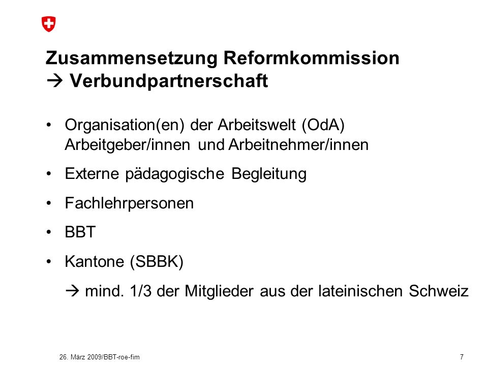 Zusammensetzung Reformkommission  Verbundpartnerschaft