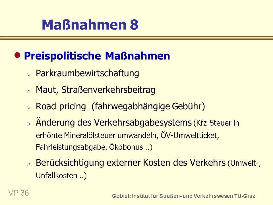 Maßnahmen 8 Preispolitische Maßnahmen Parkraumbewirtschaftung