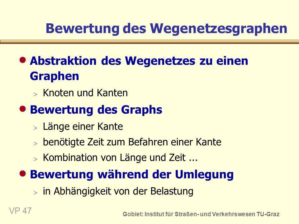 Bewertung des Wegenetzesgraphen