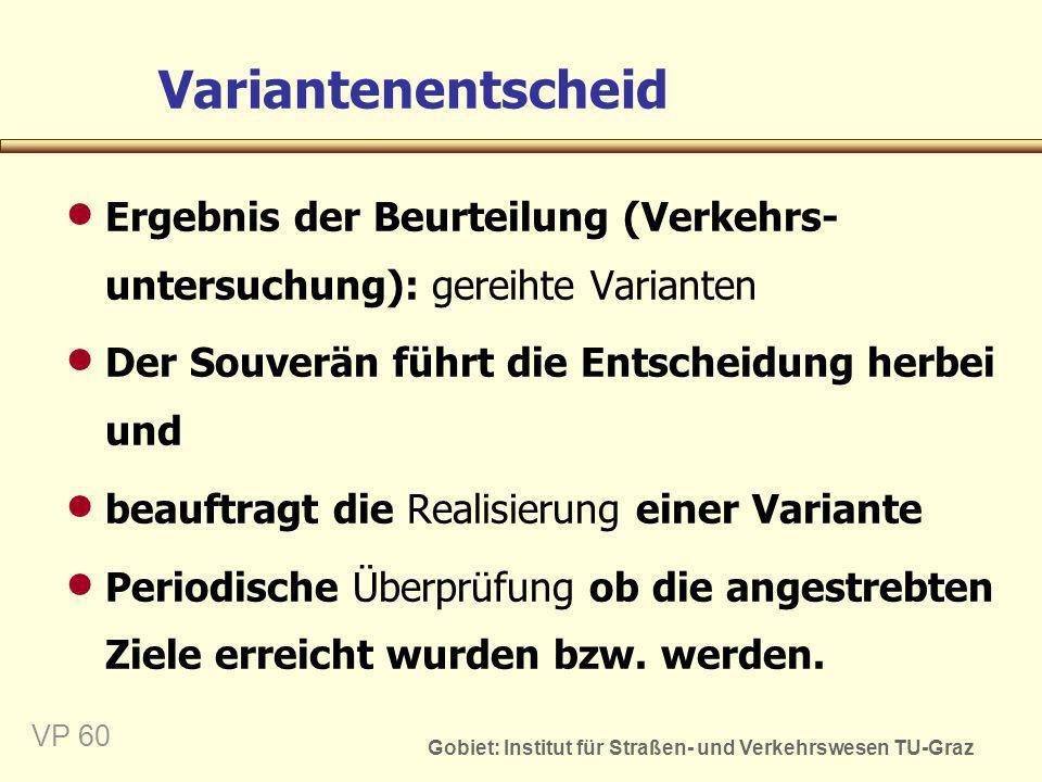 Variantenentscheid Ergebnis der Beurteilung (Verkehrs-untersuchung): gereihte Varianten. Der Souverän führt die Entscheidung herbei und.
