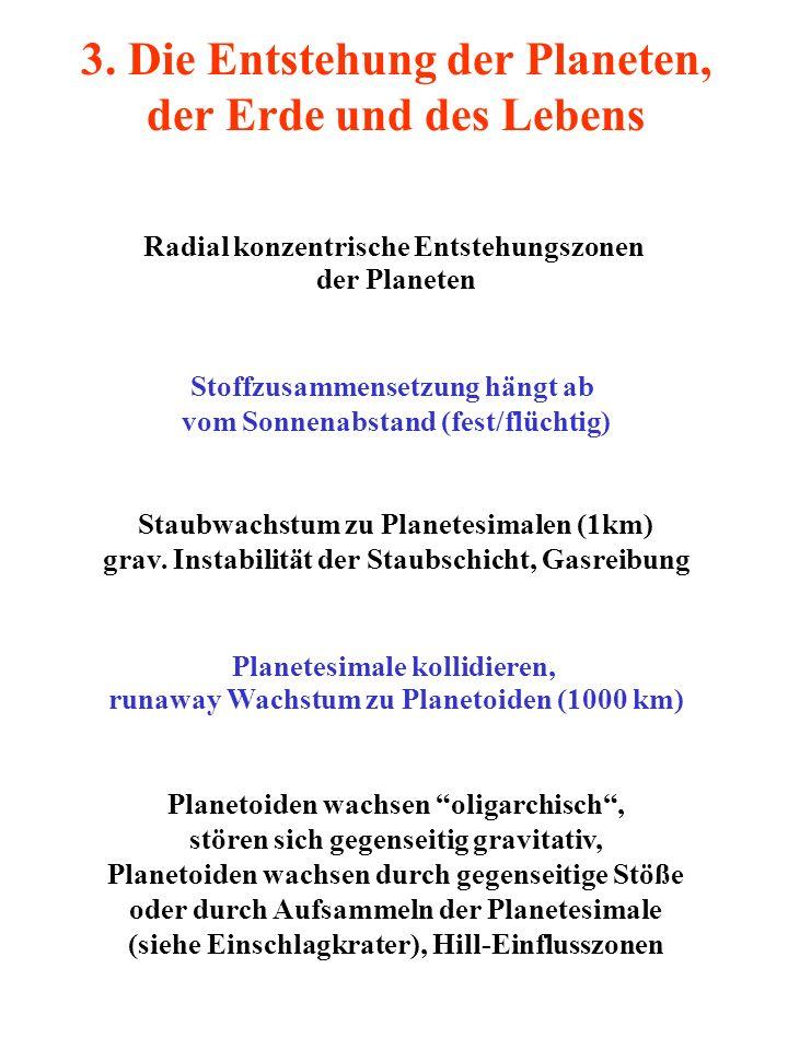 3. Die Entstehung der Planeten, der Erde und des Lebens