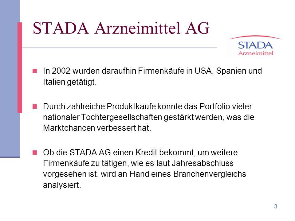 STADA Arzneimittel AG In 2002 wurden daraufhin Firmenkäufe in USA, Spanien und Italien getätigt.