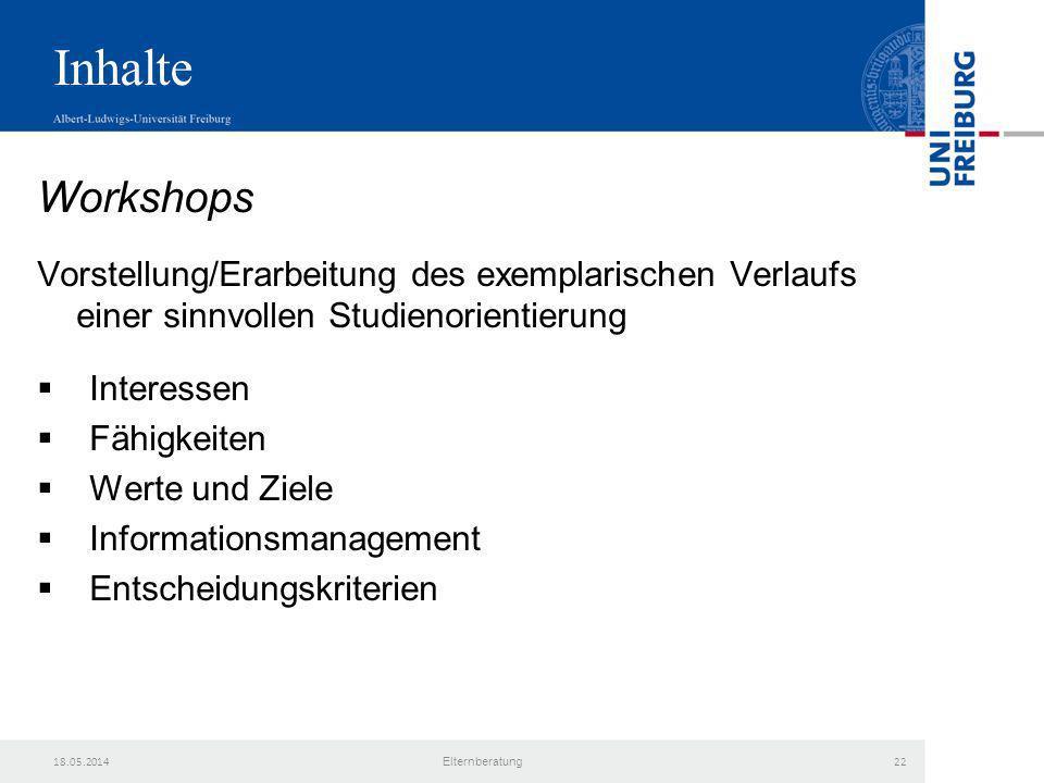 Inhalte Workshops. Vorstellung/Erarbeitung des exemplarischen Verlaufs einer sinnvollen Studienorientierung.