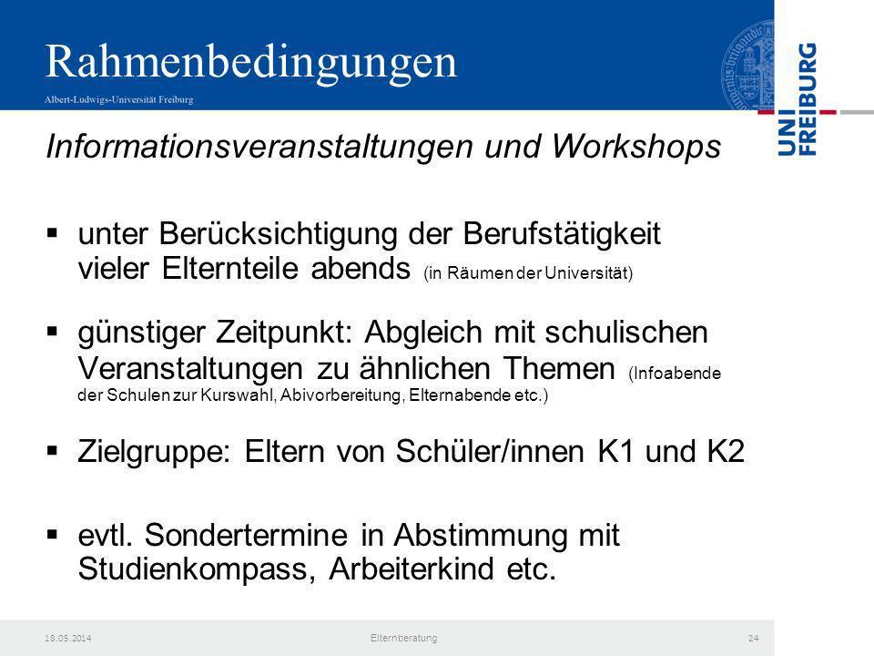 Rahmenbedingungen Informationsveranstaltungen und Workshops