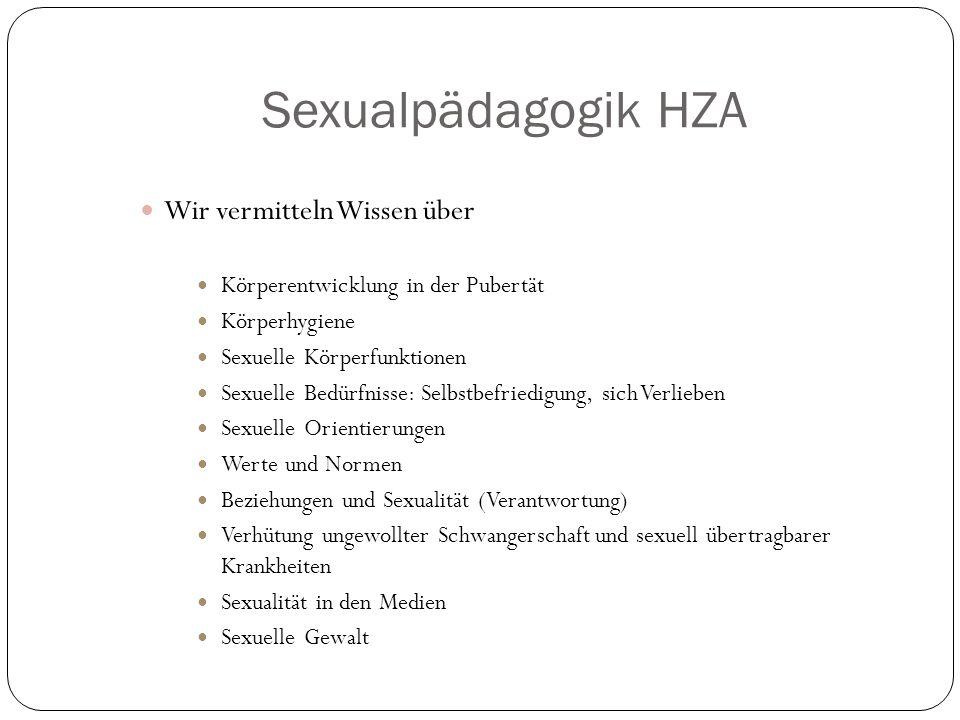 Sexualpädagogik HZA Wir vermitteln Wissen über