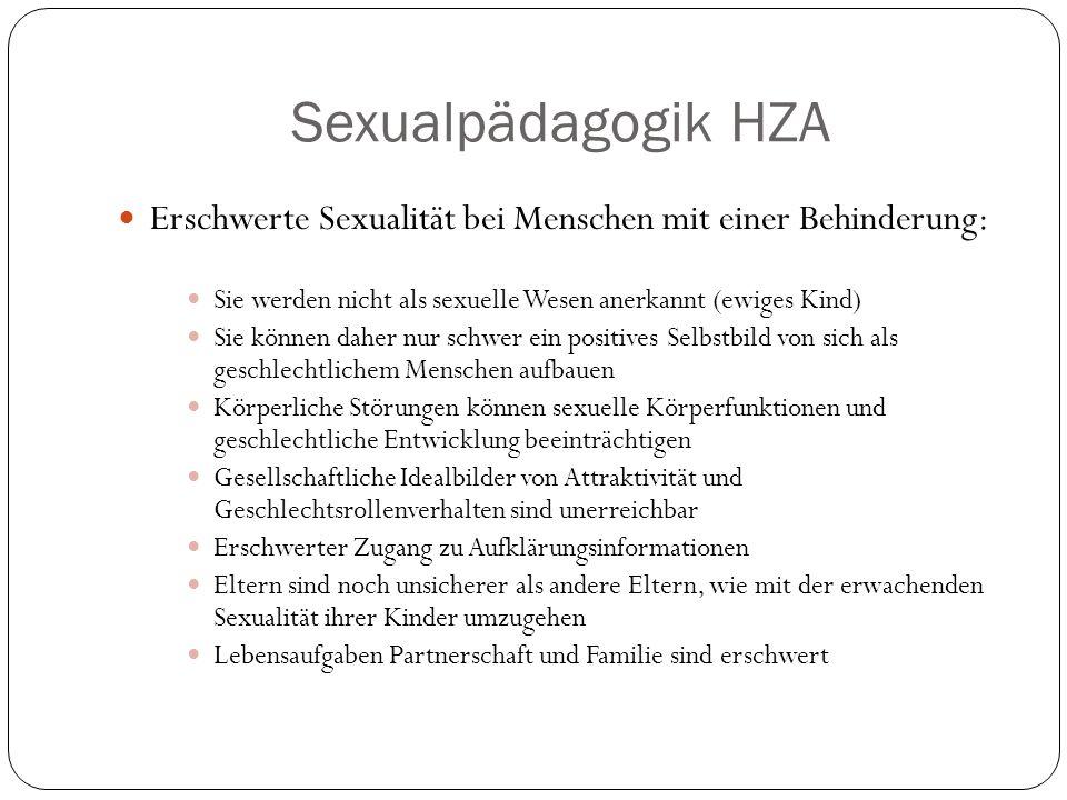 Sexualpädagogik HZA Erschwerte Sexualität bei Menschen mit einer Behinderung: Sie werden nicht als sexuelle Wesen anerkannt (ewiges Kind)
