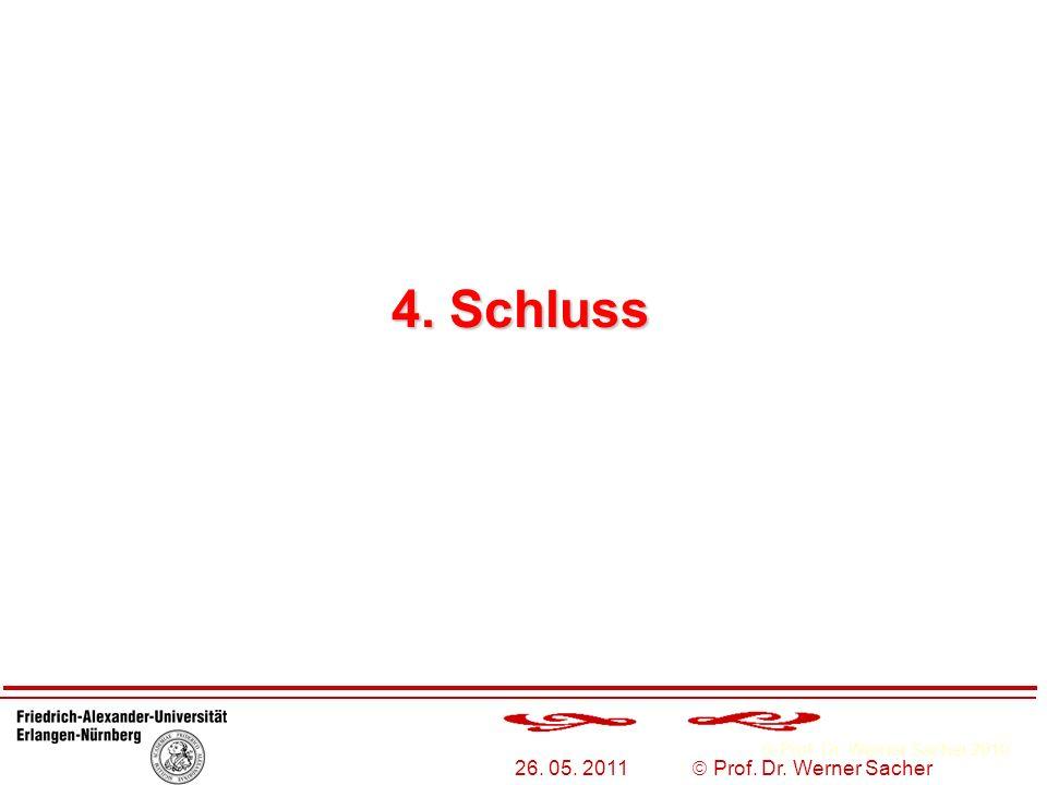4. Schluss 26. 05. 2011  Prof. Dr. Werner Sacher