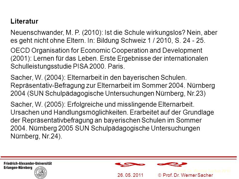Literatur Neuenschwander, M. P. (2010): Ist die Schule wirkungslos Nein, aber es geht nicht ohne Eltern. In: Bildung Schweiz 1 / 2010, S. 24 - 25.