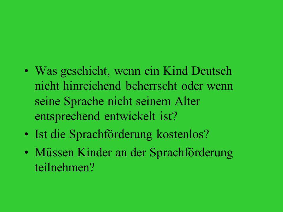 Was geschieht, wenn ein Kind Deutsch nicht hinreichend beherrscht oder wenn seine Sprache nicht seinem Alter entsprechend entwickelt ist