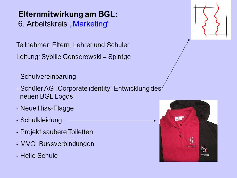 "Elternmitwirkung am BGL: 6. Arbeitskreis ""Marketing"