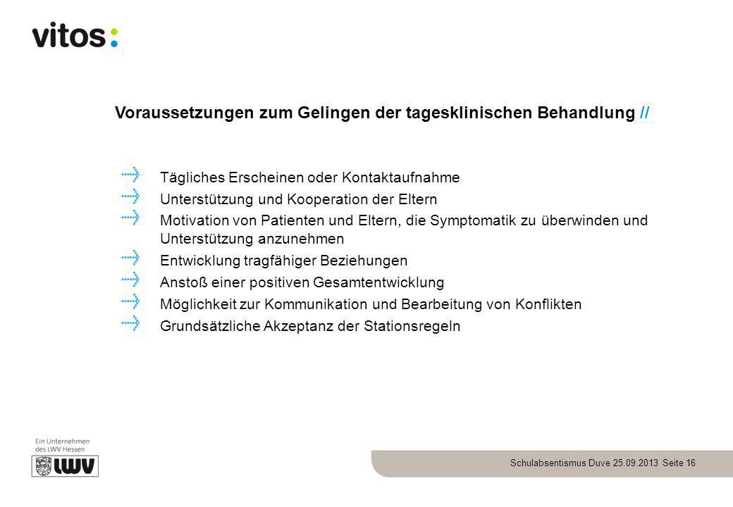 Voraussetzungen zum Gelingen der tagesklinischen Behandlung //