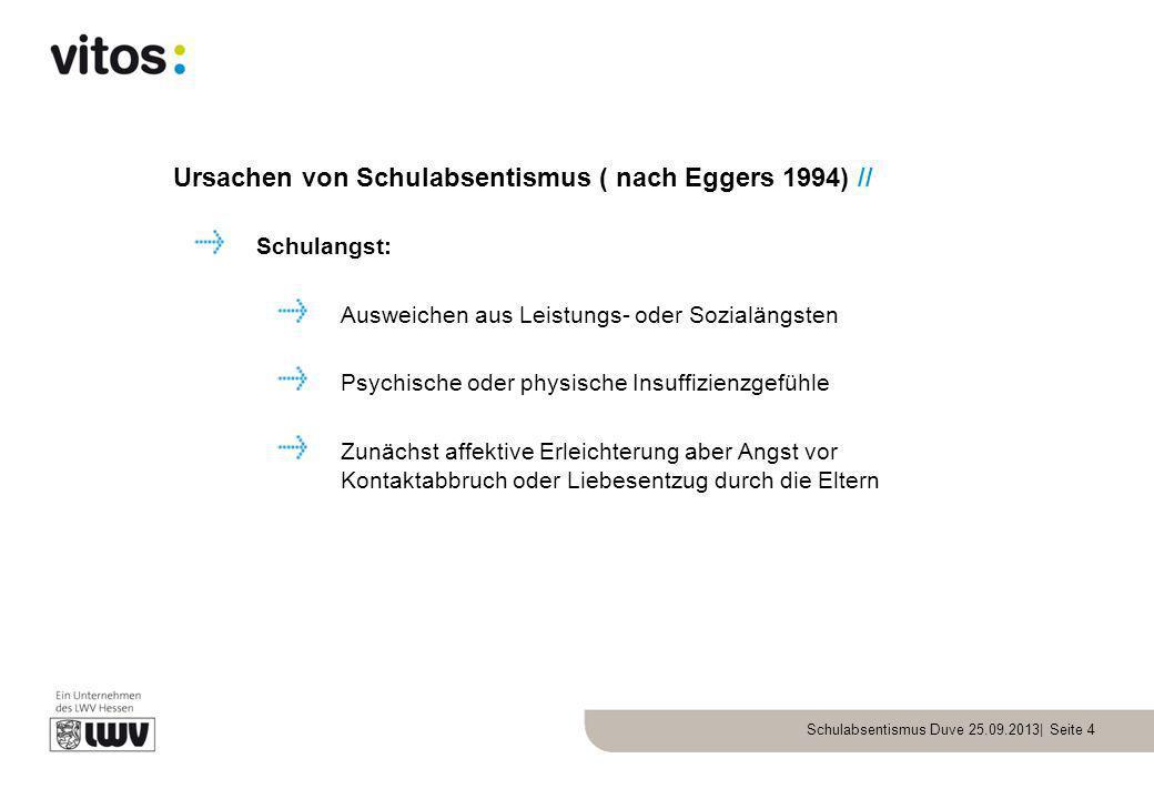 Ursachen von Schulabsentismus ( nach Eggers 1994) //