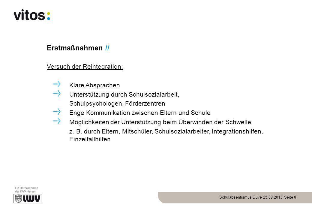 Erstmaßnahmen // Versuch der Reintegration: Klare Absprachen