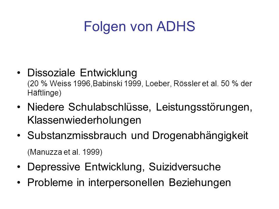 Folgen von ADHS Dissoziale Entwicklung (20 % Weiss 1996,Babinski 1999, Loeber, Rössler et al. 50 % der Häftlinge)