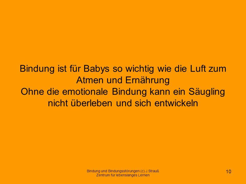 Bindung ist für Babys so wichtig wie die Luft zum Atmen und Ernährung Ohne die emotionale Bindung kann ein Säugling nicht überleben und sich entwickeln
