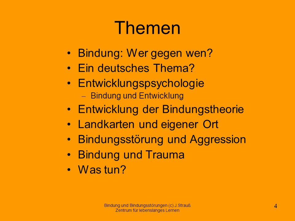 Themen Bindung: Wer gegen wen Ein deutsches Thema