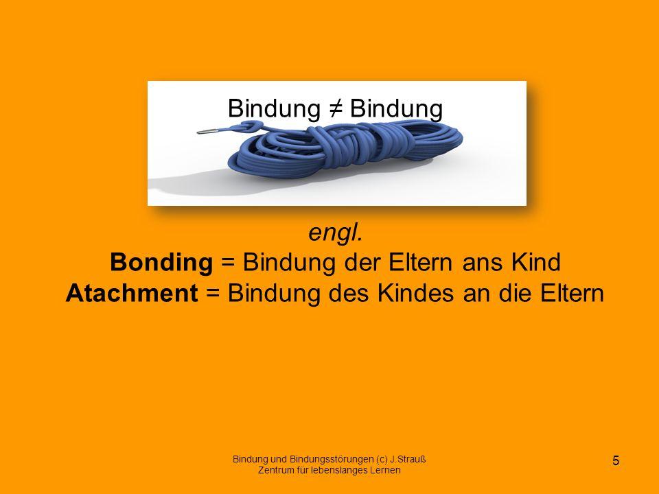 Bindung ≠ Bindung engl. Bonding = Bindung der Eltern ans Kind Atachment = Bindung des Kindes an die Eltern