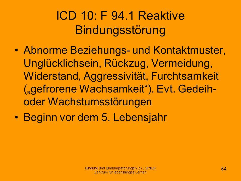 ICD 10: F 94.1 Reaktive Bindungsstörung