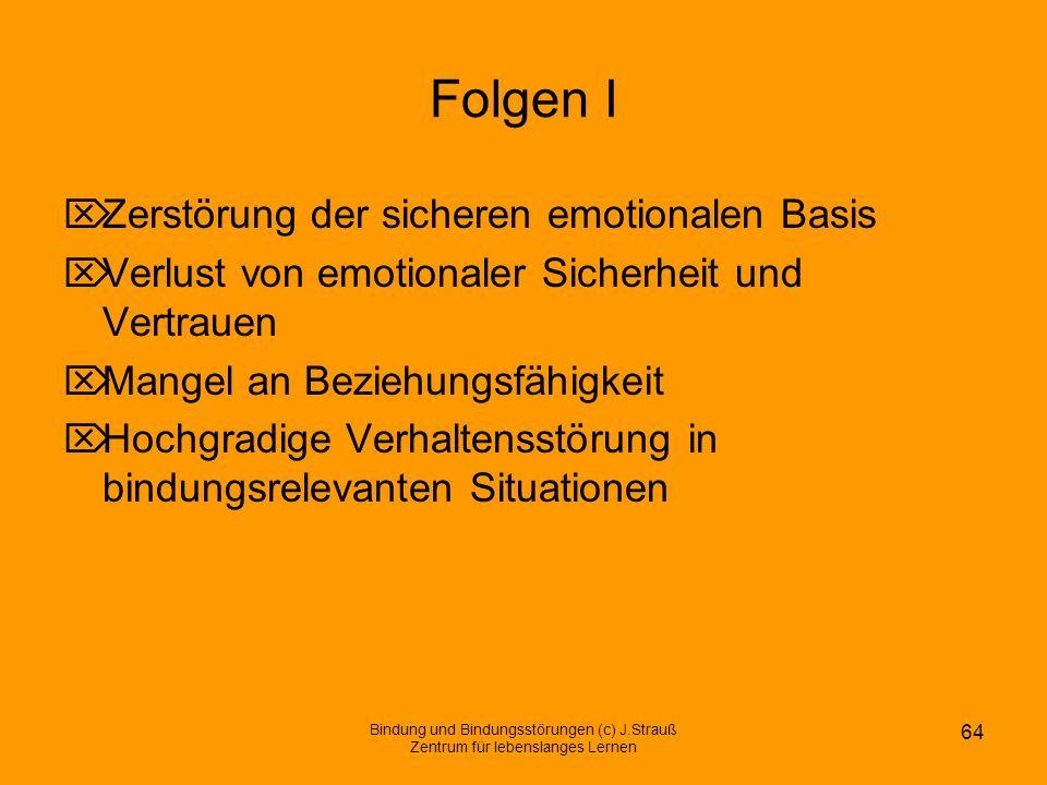Folgen I Zerstörung der sicheren emotionalen Basis