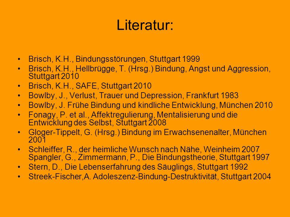 Literatur: Brisch, K.H., Bindungsstörungen, Stuttgart 1999