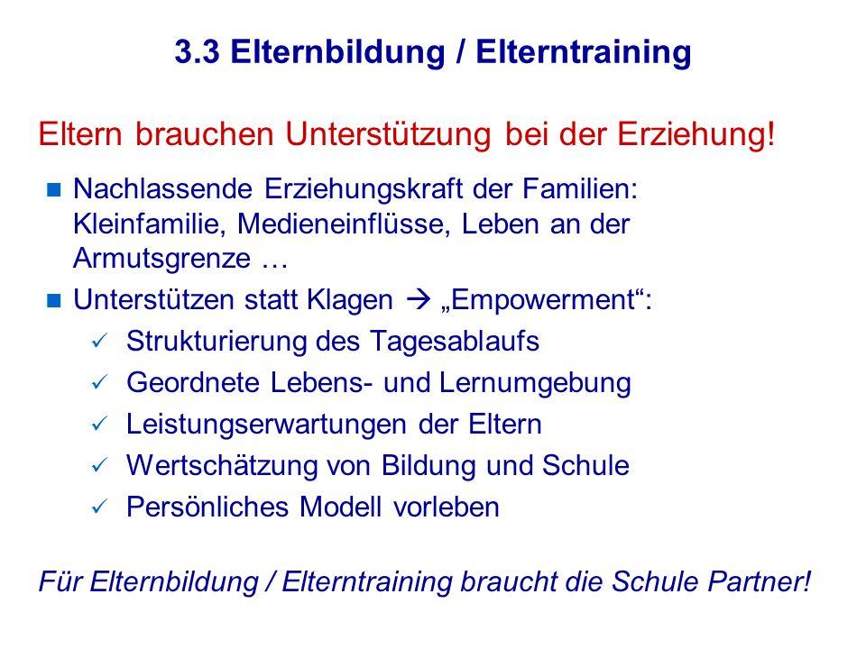 3.3 Elternbildung / Elterntraining
