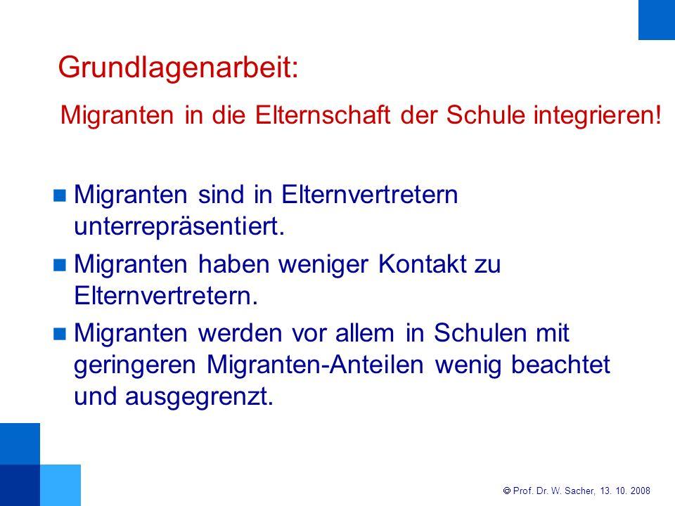 Grundlagenarbeit: Migranten in die Elternschaft der Schule integrieren! Migranten sind in Elternvertretern unterrepräsentiert.