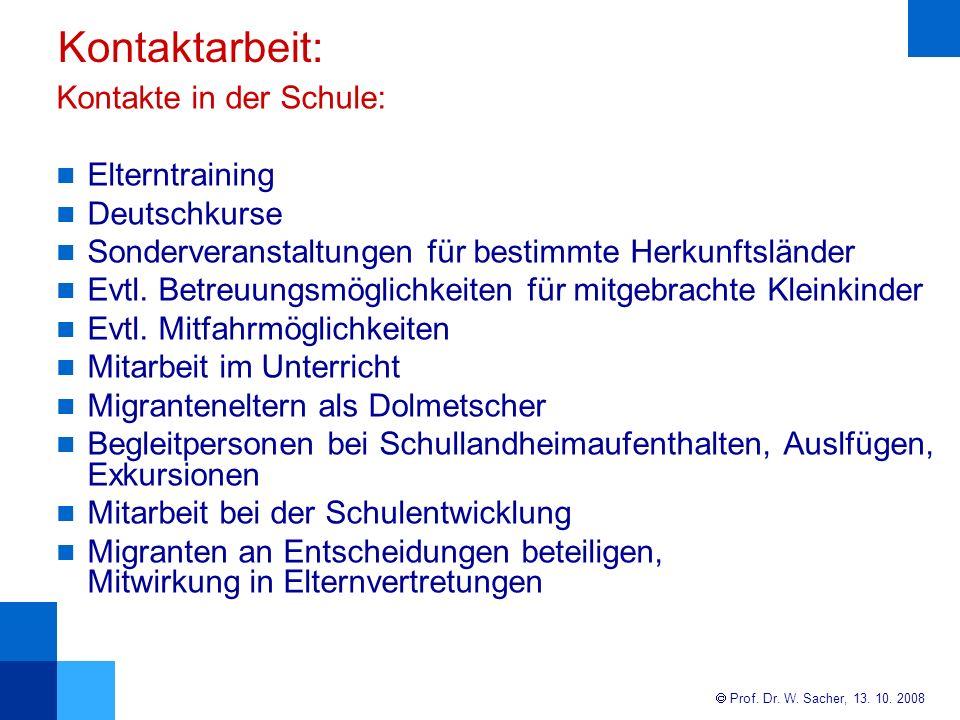 Kontaktarbeit: Kontakte in der Schule: Elterntraining Deutschkurse