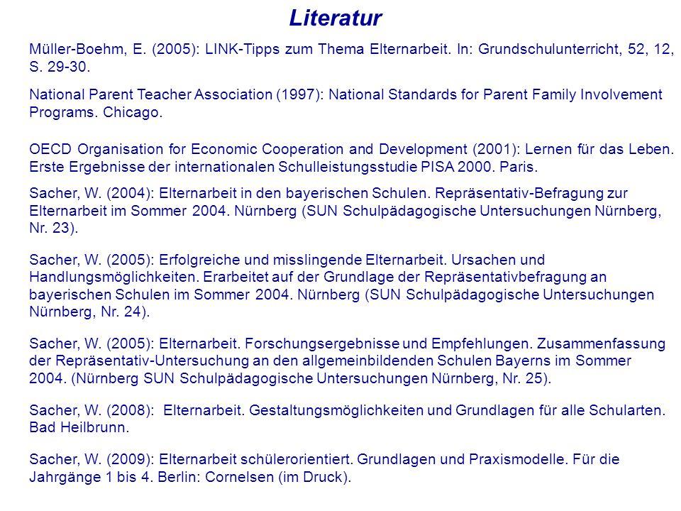 Literatur Müller-Boehm, E. (2005): LINK-Tipps zum Thema Elternarbeit. In: Grundschulunterricht, 52, 12, S. 29-30.
