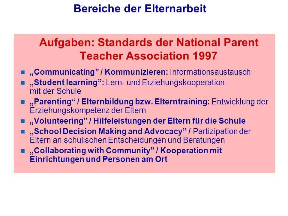 Aufgaben: Standards der National Parent Teacher Association 1997