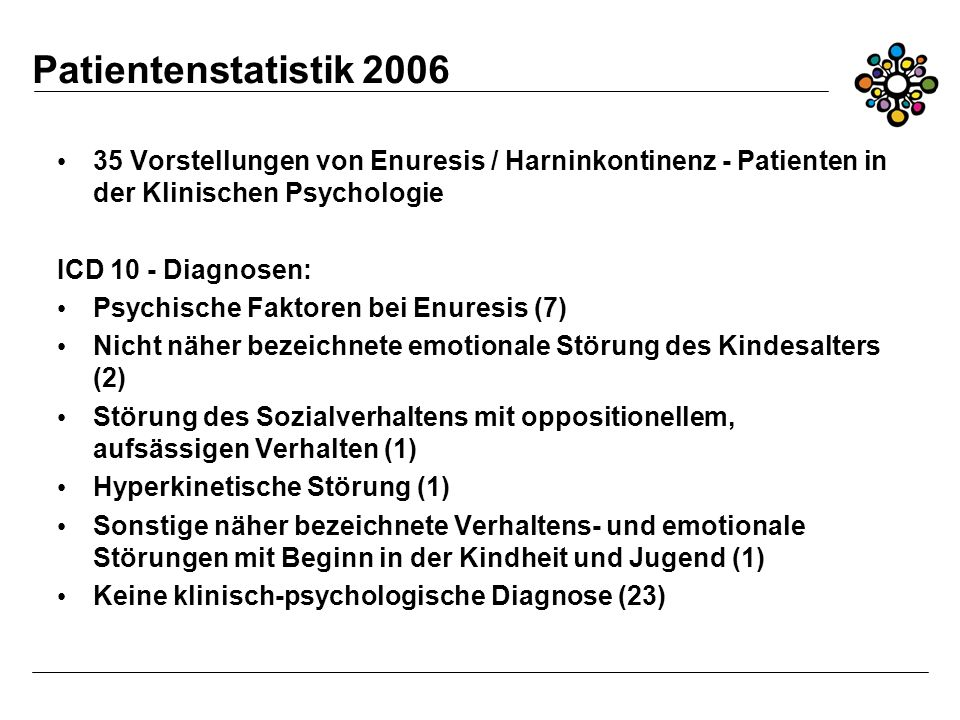 Patientenstatistik 2006 35 Vorstellungen von Enuresis / Harninkontinenz - Patienten in der Klinischen Psychologie.
