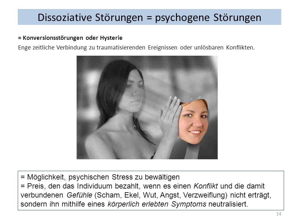 Dissoziative Störungen = psychogene Störungen