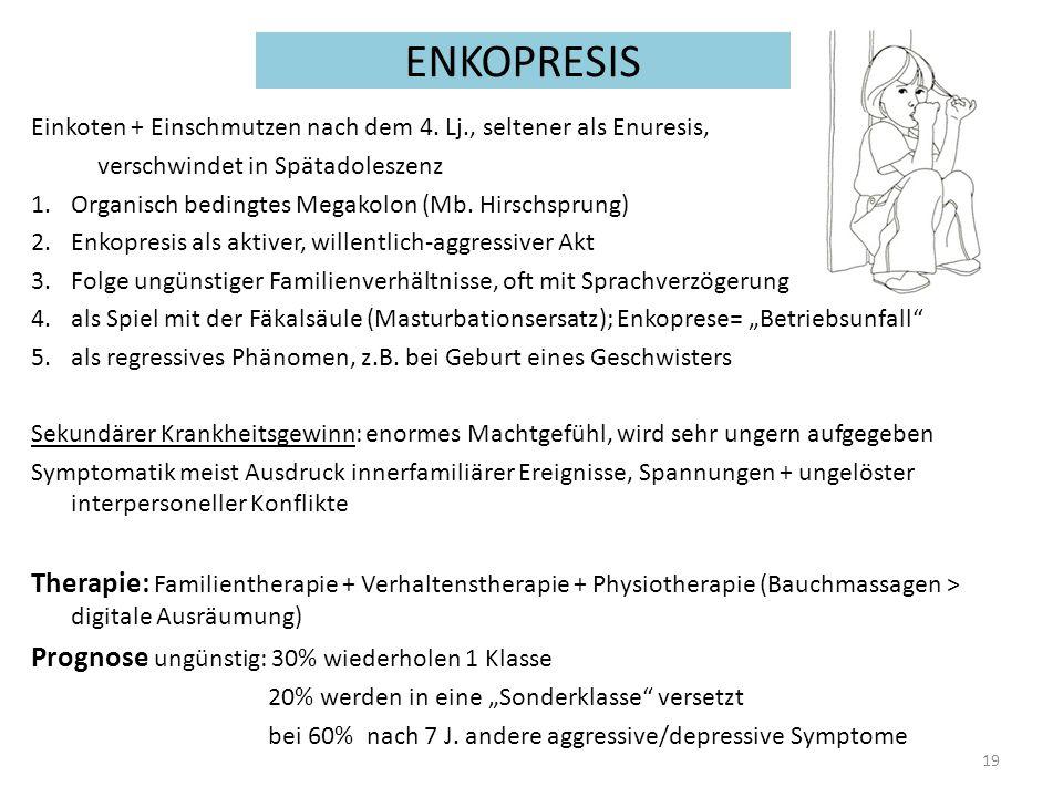 ENKOPRESIS Einkoten + Einschmutzen nach dem 4. Lj., seltener als Enuresis, verschwindet in Spätadoleszenz.