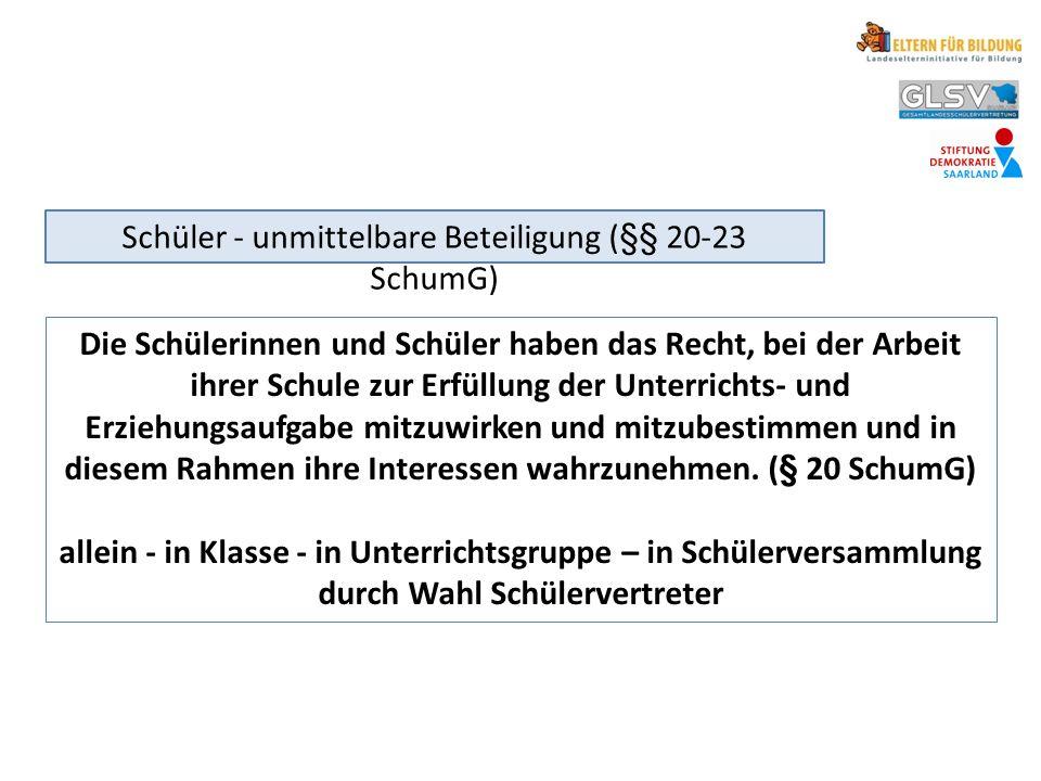 Schüler - unmittelbare Beteiligung (§§ 20-23 SchumG)