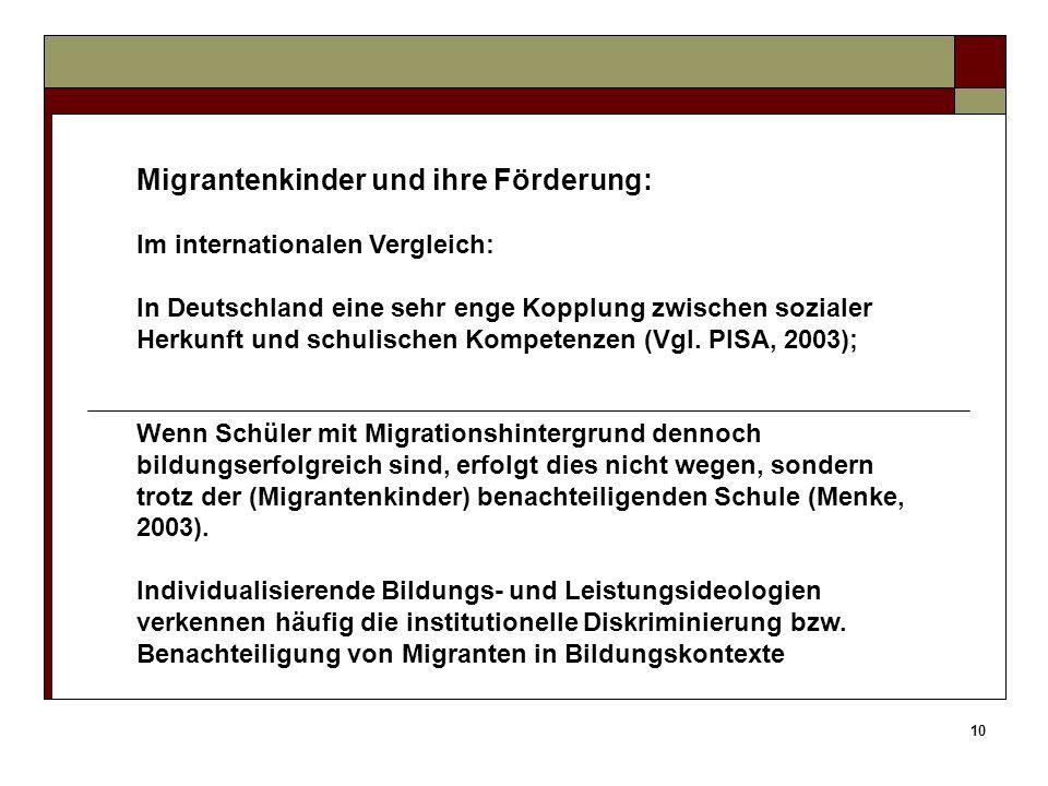 Migrantenkinder und ihre Förderung: