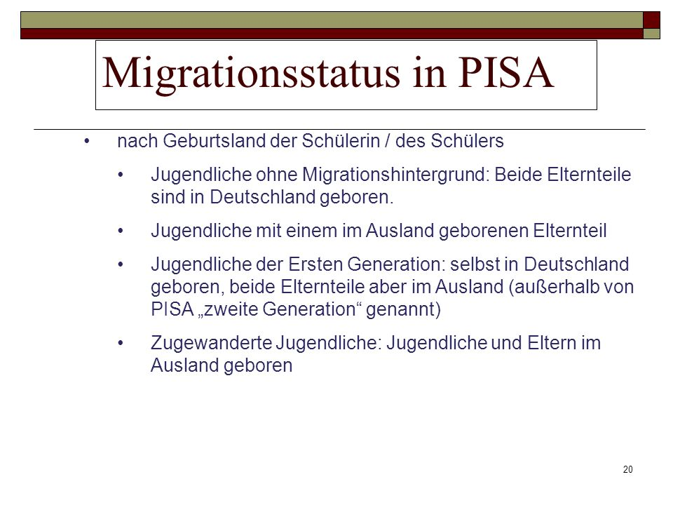 Migrationsstatus in PISA