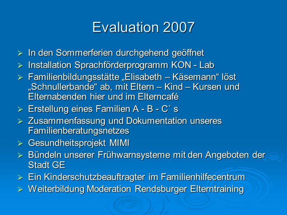 Evaluation 2007 In den Sommerferien durchgehend geöffnet