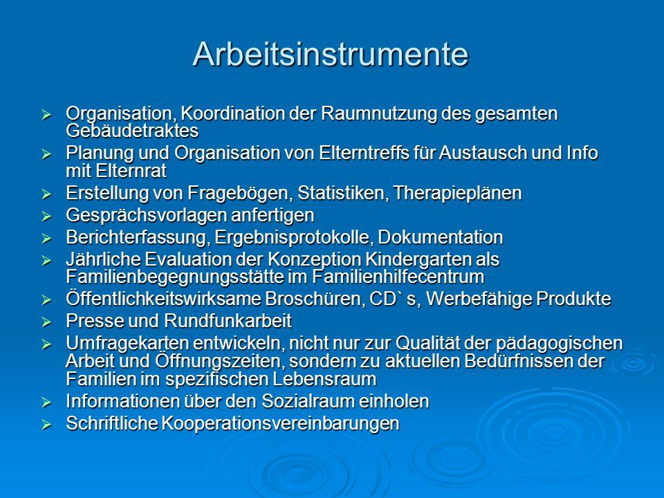 Arbeitsinstrumente Organisation, Koordination der Raumnutzung des gesamten Gebäudetraktes.