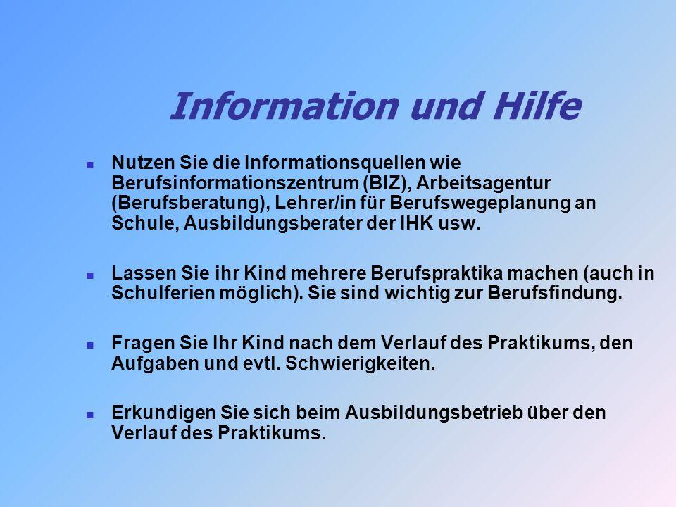 Information und Hilfe