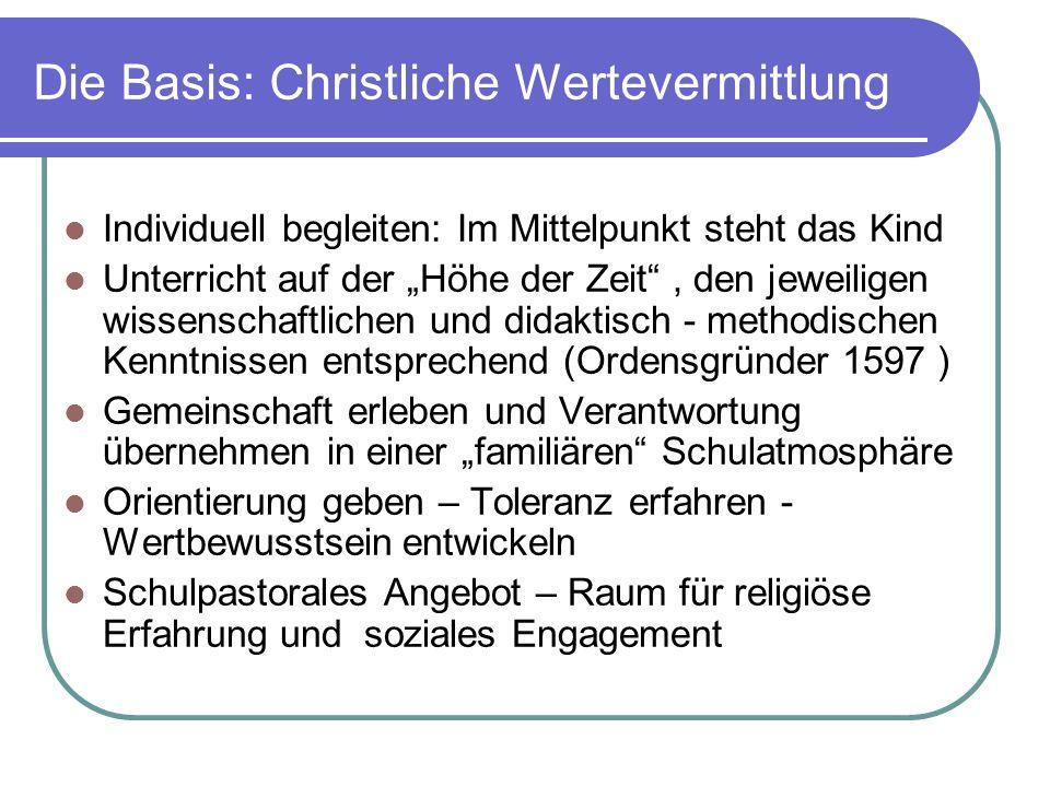 Die Basis: Christliche Wertevermittlung