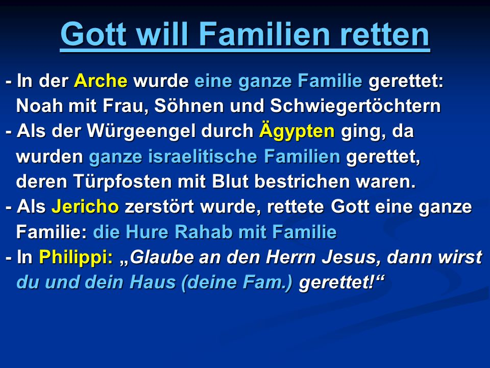 Gott will Familien retten