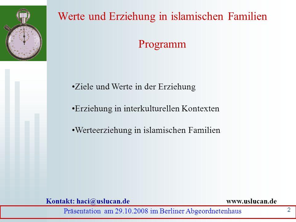 Werte und Erziehung in islamischen Familien Programm