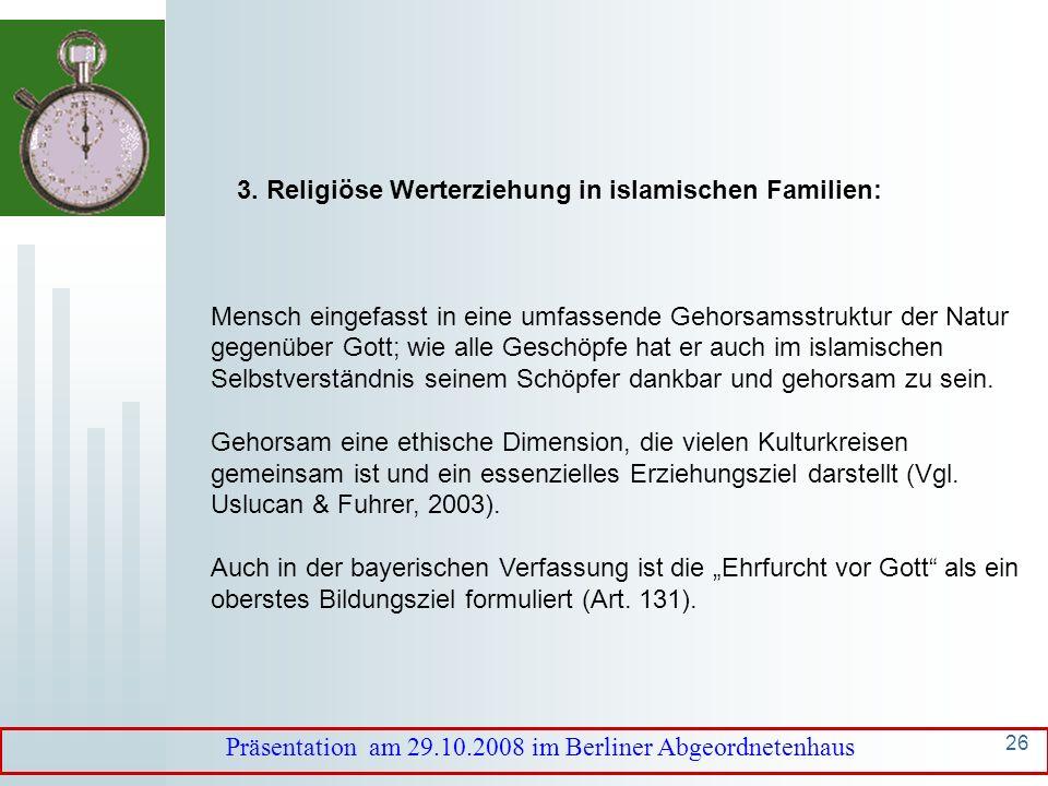 3. Religiöse Werterziehung in islamischen Familien:
