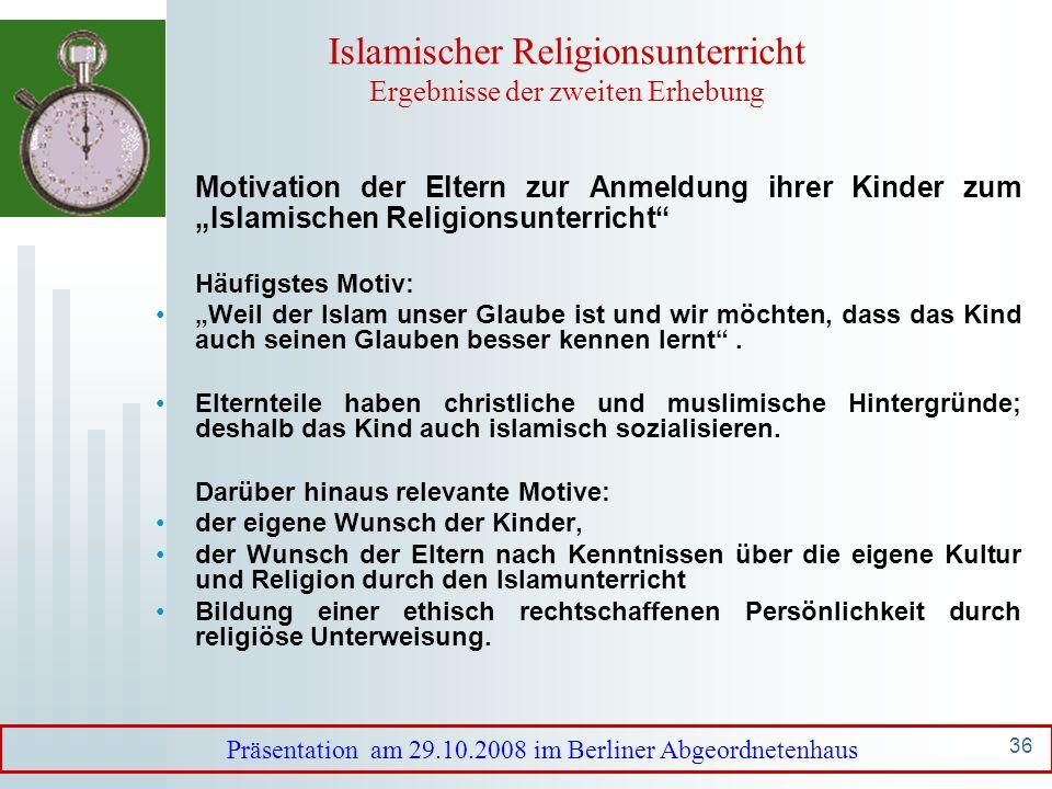 Islamischer Religionsunterricht Ergebnisse der zweiten Erhebung