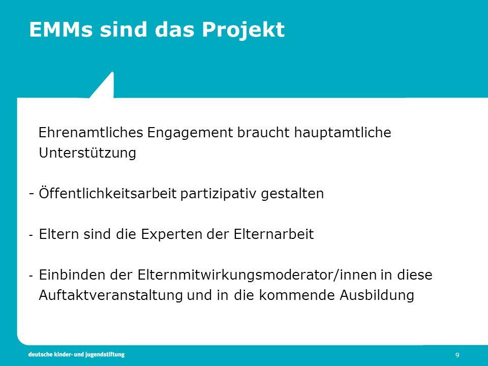 EMMs sind das Projekt Ehrenamtliches Engagement braucht hauptamtliche Unterstützung. Öffentlichkeitsarbeit partizipativ gestalten.