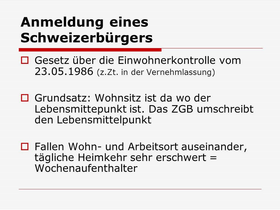 Anmeldung eines Schweizerbürgers