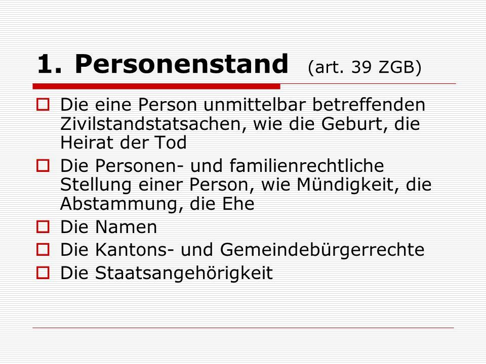 Personenstand (art. 39 ZGB)